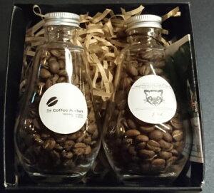 小さなコーヒーギフトブラジルドライオンツリ70gエチオピア ゲイシャ70g化粧瓶入70g×2ビン送料無料 ラッピング代込みクリスマス、お歳暮、お年賀、X'MAS、プレゼント、お誕生日