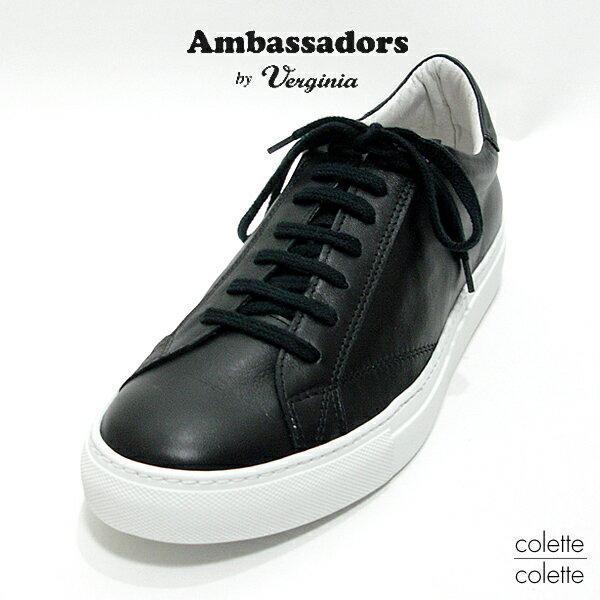 Ambassadors アンバサダーズ バイ バージニア LADIES レディースAmb ( Ambassadors by Verginia ) アンバサダーズ スニーカー レディース ローカット レザースニーカー ブラック【正規品】 Ambassadors Amb( アンバサダーズ ) レディーススニーカー