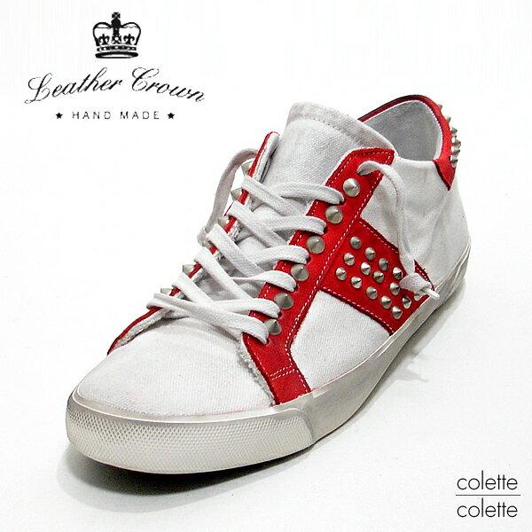 【SALE】 レザークラウン LEATHER CROWN メンズスニーカー レザークラウン 【 正規代理店商品 】 LEATHER CROWN ローカットスニーカー Leather Crown スタッズスニーカー