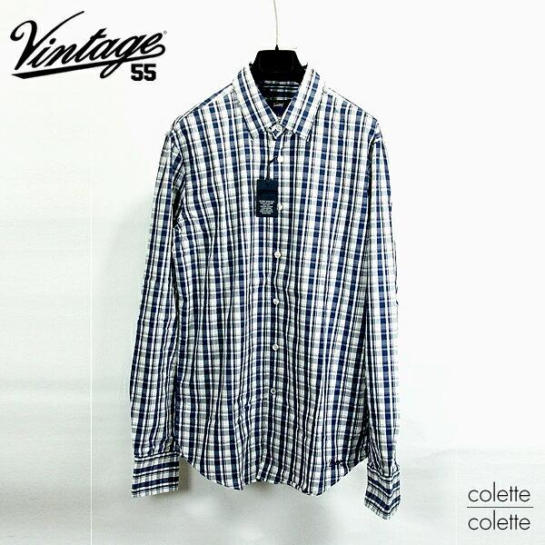 【SALE】ヴィンテージ55 Vintage55 ( ヴィンテージ55 )メンズ長袖シャツ ■ ショートカラー チェックロングスリーブシャツ ブルー系 Vintage55 ( ヴィンテージ55 )チエックシャツ ブルー系