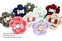 ワンポイントヘアゴム◎シンプル手編み2段お花◎miniりぼん&イニシャル付きデザイン