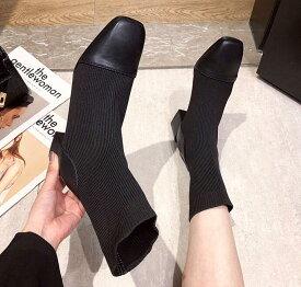 ショートブーツ ソックスブーツ 靴 ヒール5cm シューズ レディース ムートンブーツ レディース 秋 ショート 大きいサイズ 冬 暖かい かわいい おしゃれ ソックスシューズ