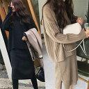 ニットワンピースで韓国ファッションを!セットアップ 【レディースワンピース】 秋冬ワンピースタートルネックロン…