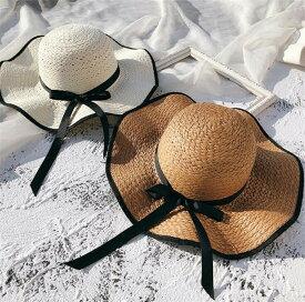 帽子 レディース女優帽 麦わらリボン ストローハット つば広 リゾートハット リゾート帽子 ビーチハット 紫外線対策 おしゃれ 帽子 uv つば広ハット手編みつば広ペーパーハット uvカット 春 夏 日除け 日よけ コーデ 麦