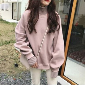韓国ファッション暖かく冬美人になれる一枚?カジュアルにも女性らしくにも裏起毛オーバーパーカー 【送料無料】【カジュアル】【トップス】【レディース】