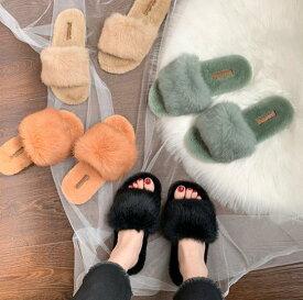 たっぷりファーサンダル💗フラットサンダル レディース 靴 歩きやすい秋の新スタイル ヒール ローヒール 美脚靴シューズ 滑り止め ビーチスリッパ