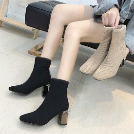 058ed6a3010 ショートブーツ /韓国ファッション/ソックスブーツ 疲れない 歩きやすい 美脚 脚長 韓国風