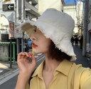 韓国ファッション/ヴィンテージ コットンバケットハット/ヴィンテージなテイスト タウンユースにも リゾートコーデに…