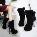 ショートブーツ ファー付き ブーツ 靴 シューズ レディース 女性 大人 美脚 秋冬 ピンヒール ブーツ 靴 …