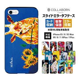 iPhoneケース NIJISUKE スライド ミラー タフケース | スマホケース iPhone7 iPhoneX iPhoneXs iPhoneXsMAX iPhoneXR iPhone8 iPhone8Plus iPhone7Plus アイフォン7 アイフォン8 XR XS X アイフォンケース スマホカバー 携帯カバー 携帯ケース カード収納 鏡付き ICカード