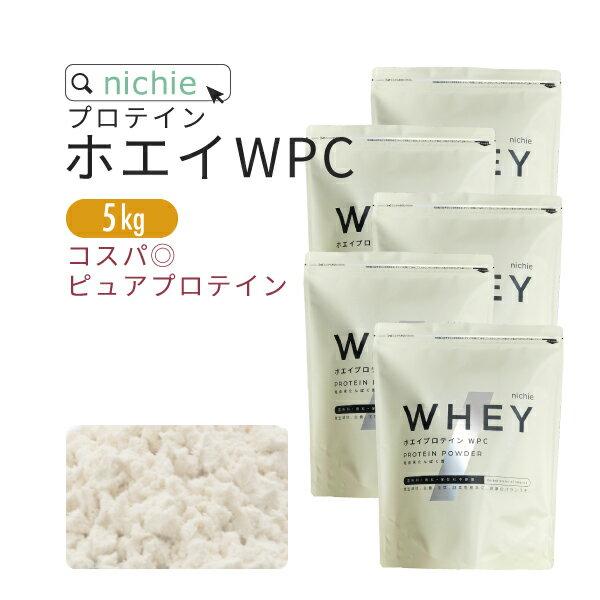 nichie ホエイプロテイン WPC プレーン 5kg ココア イチゴ メロン フレーバープレゼント 【リニューアル】