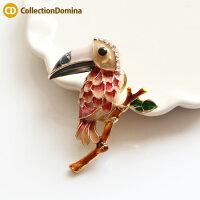 マグネットブローチ鳥バード南国の鳥オオハシブローチラインストーンゴールドレッドレディースアクセサリー雑貨小物