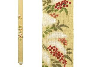京都洛柿庵 手描き お正月飾り細タペストリー 白雪南天 縁起飾り