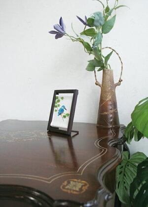 京都洛柿庵手描き手染めミニ木枠タペストリーカワセミ川蝉