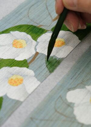 京都洛柿庵手描き細タペストリー初夏の飾り姫沙羅