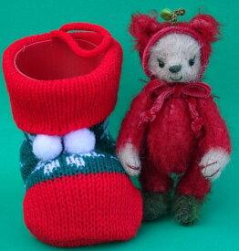 古池晴美製作テディベア2020メリークリスマスPICCOLO 赤りんご in Christmas Boots