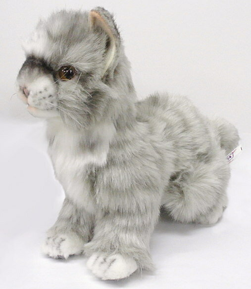 【HANSA】ぬいぐるみ子ネコ グレー20cm