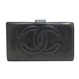 eeb028091acb 中古 シャネル 財布 長財布 二つ折り ガマ口 ココマーク ラムスキン ブラック 黒 A01429 レディース