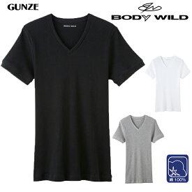 メンズ BODY WILD VネックTシャツ(BWJ415J)リブ vネック tシャツ 半袖 tシャツ メンズ v首 tシャツ 無地 tシャツ ブラック ホワイト グレー リブ トップス gunze グンゼ メンズ body wild ボディワイルド ボディーワイルド 綿 綿100% コットン 抗菌 防臭(02836)