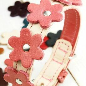 犬 首輪 ★ Flower charm ★ フラワー チャーム オプション (材料、取付費込)★ご注意:首輪・リードとは別売りの取り付けオプションです。