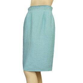 【中古】 クリスチャンディオール Christian Dior 白&青 麻リネン混 涼織り地スカート 9号(M相当) ミセスの方にも 春夏 レディース 【1AS】