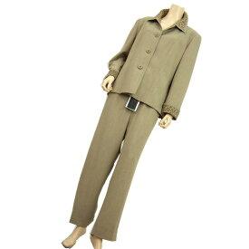 【中古】 ラピーヌルージュ LAPINE ROUGE パンツスーツ 表記19号・17号(5L・4L相当) 大きいサイズ ベージュ×ブラウン 襟・袖口レオパード柄 春秋 レディース