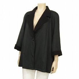 【中古】クリスチャンディオール Christian Dior *プレタポルテ オシャレ暖かジャケット*コート 大きいサイズ 黒 ダブルフェイス お出掛けに♪ 冬 レディース