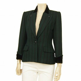 【中古】ニナリッチブティック NINA RICCI Boutique 高級ジャケット 表記7号(S/36号相当) 緑*黒 上質ウール100% フランス製生地使用 ベルベット使い フォーマル対応 冬 レディース