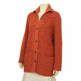 【中古】 サンジョア Saint Joie 襟付きニットジャケット 表記Mサイズ(LL/13号相当) 大きめ 橙〜ブラウン系 暖かウール混 模様編み お出かけに 秋冬 レディース