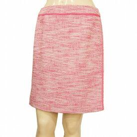 【中古】 ダナキャランニューヨーク DKNY 綺麗色タイトスカート 表記6号(M/9号相当) ピンク系 薄手ツイード素材 テープトリム お出かけに 春夏秋 レディース