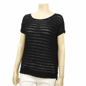 【中古】 セオリー theory 涼しげニットセーター 表記Sサイズ(7/36号相当) 黒 リネン麻&コットン綿 透かし編み お出かけに 夏 レディース