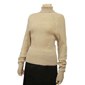 【中古】 クリスチャンディオール Christian Dior タートルネックニットセーター Sサイズ相当 ベージュ系 ウール100% リブ*アラン編み ドルマンスリーブ 冬 レディース