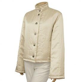 【中古】クリッツィア EVEX by KRIZIA 暖か中綿コート 表記40号(L/11号相当) 白系 ロゴ釦 スタンドカラー お出掛けにも 冬 レディース