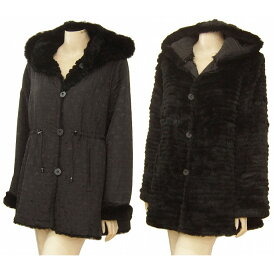 【中古】暖かリバーシブルコート 大きいサイズ 黒系 上質ラビットファー*毛皮 フード付き お出掛けにも 冬 レディース