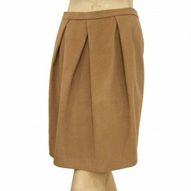 【中古】トゥモローランドコレクション TOMORROWLAND collection お洒落なスカート 表記38号(M/9号相当) ブラウン系 上質ウール混 タックデザイン お出掛けにも 秋冬 レディース