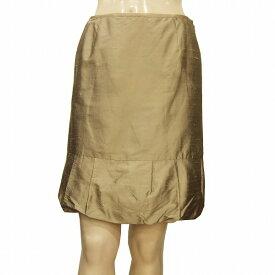 【中古】 デプレ DES PRES 上質シルク絹100% 裾バルーン風スカート 表記0号(Sサイズ相当) カーキ系 美光沢 パーティー/フォーマルに 日本製 春夏 レディース