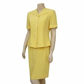 【中古】 ピエールカルダン pierre cardin 素敵な半袖一重スーツ 表記9号(M相当) 鮮やか黄色 さらり生地 変形襟 フォーマルに 春夏 レディース