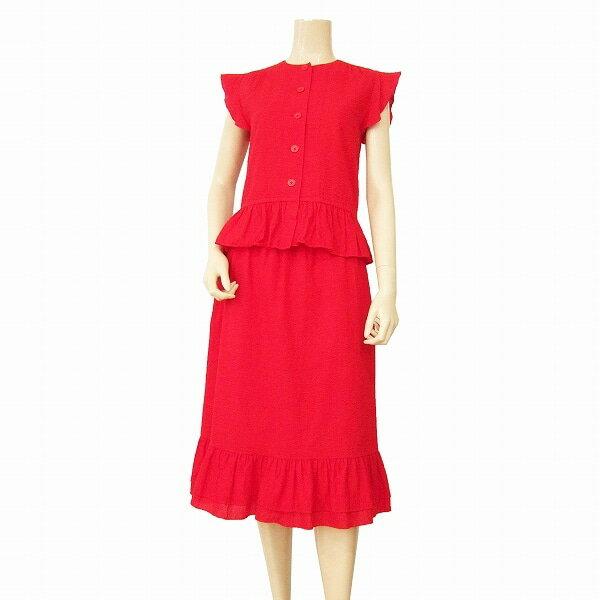 【中古】 ジュンアシダ jun ashida 可憐なぺプラムスカートスーツ 表記9号(M相当) 美彩赤色 コットン100% 膨れ織り生地 結婚式・パーティー・フォーマルに 春夏 レディース