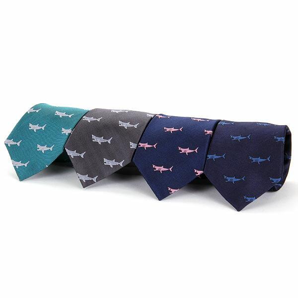 【生物柄 ネクタイ ホホジロザメ ダークグレー/ピーコックグリーン/ネイビー&ブルー/ネイビー&ピンク】アニマル柄 動物 魚類 サメ