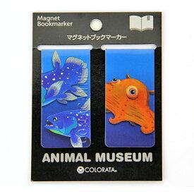しおり 栞 シーラカンス&メンダコ マグネット ブックマーカー 2個入 動物 古代魚 深海生物 蛸