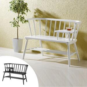 カフェベンチ 木製 ウィンザー調 ミニテーブル付 完成品 ビアンフェール 約幅100cm ( 送料無料 ベンチ ダイニングベンチ シンプル モノクロ カフェ おしゃれ 椅子 チェア ベランダ