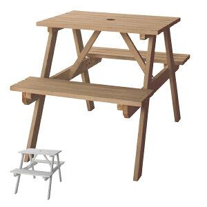 ガーデンテーブル テーブル&ベンチ W75 ( 送料無料 ガーデンチェア ガーデンセット ウッドテーブル ウッドチェア コンパクト 収納 木製 アウトドア 屋外 すのこ状 通気性 一体化型 パラソル