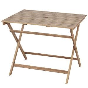 ガーデンテーブル 折りたたみ パラソル使用可能 バイロン 折りたたみテーブル ( 送料無料 木製テーブル ウッドテーブル テーブル ガーデンパラソル 木製 ガーデン オイル仕上げ アカシア