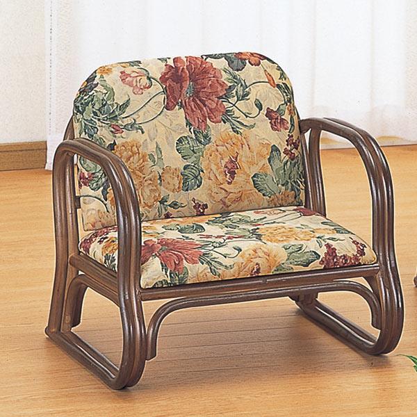 籐〔ラタン〕 思いやり座椅子 ロータイプ 送料無料( 正座椅子 背もたれ付き 肘付き 肘掛 イス チェア 座いす アジアン ) 【3900円以上送料無料】
