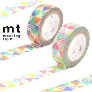 マスキングテープ mt 1P しまさんかく 三角 ボーダー 幅15mm ( カモ井加工紙 マステ 和紙テープ ラッピング デコレーション コラージュ ラッピングテープ さんかく トライアングル 日