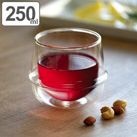 キントー KINTO ワイングラス 250ml KRONOS ダブルウォール 二重構造 保温 ガラス製 ( コップ グラス 保冷 電子レンジ対応 食器 食洗機対応 カップ 洋食器 デザートカップ デザート ガラス ワイン )【3980円以上送料無料】