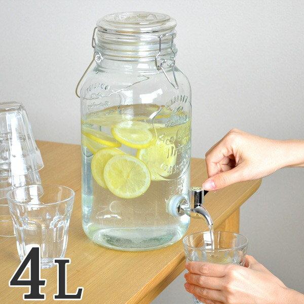 ドリンクサーバー 4L ガラス 蛇口付き ( 梅酒 果実酒 ウォーターサーバー ガラス瓶 ガラス製 瓶 サングリア ジュース作り ドリンクディスペンサー )【4500円以上送料無料】