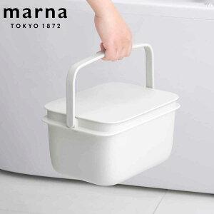 バケツ 5L MARNA マーナ ふた付き ( 蓋付き 角型 つけ置き 漬け置き コンパクト 掃除 清掃 収納 おしゃれ ばけつ 収納ボックス スクエア 桶 おけ 四角 漬け置き洗い 洗濯 洗濯物 靴 上靴 持ち手