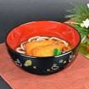 麺どんぶり 黒 夢うさぎ 食洗機対応 プラスチック製 ( 和食器 麺どんぶり お碗 丼 木製風 お正月食器 電子レンジ…