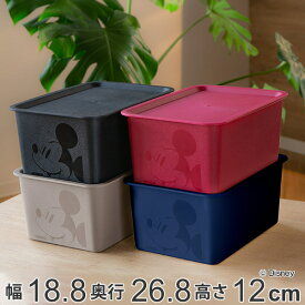 収納ボックス フタ付き ハーフサイズ ミッキーマウス スクエアBOX ( 収納ケース 収納 小物入れ カラーボックス ふた付き 小物 ボックス スタッキング 積み重ね インナーボックス プラスチック 箱 ディズニー Disney ミッキー )【3980円以上送料無料】